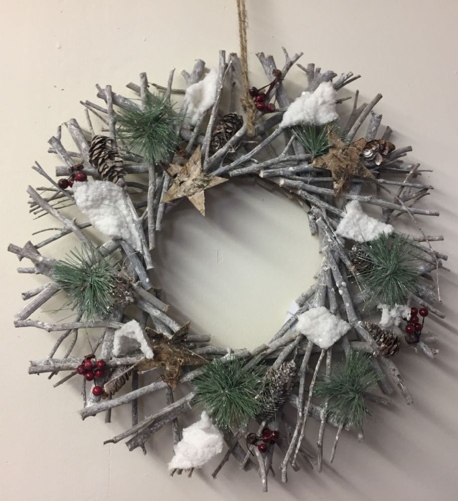 Twig  Pinecone & Red Berry Traditional Christmas Door Wreath